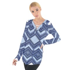 Textile Texture Fabric Zigzag Blue Women s Tie Up Tee