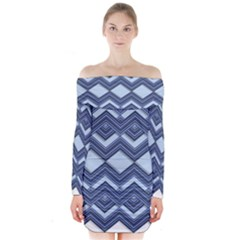 Textile Texture Fabric Zigzag Blue Long Sleeve Off Shoulder Dress