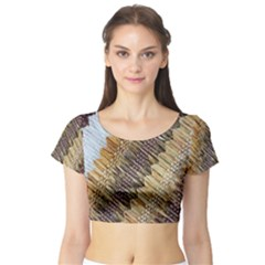 Texture Fabric Fabric Texture Short Sleeve Crop Top (Tight Fit)