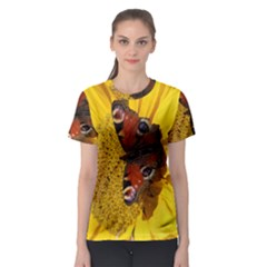Yellow Butterfly Insect Closeup Women s Sport Mesh Tee