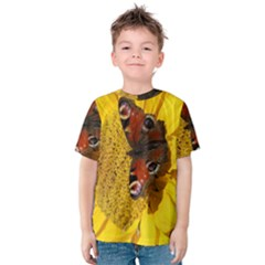 Yellow Butterfly Insect Closeup Kids  Cotton Tee
