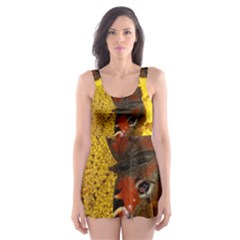 Yellow Butterfly Insect Closeup Skater Dress Swimsuit
