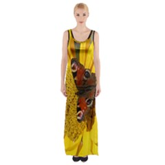 Yellow Butterfly Insect Closeup Maxi Thigh Split Dress