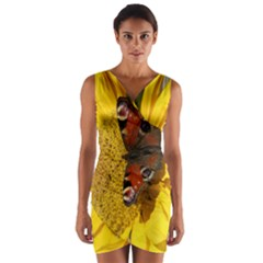 Yellow Butterfly Insect Closeup Wrap Front Bodycon Dress