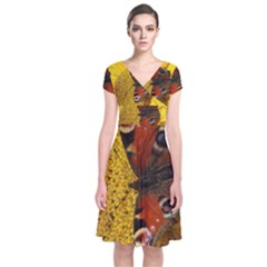 Yellow Butterfly Insect Closeup Short Sleeve Front Wrap Dress