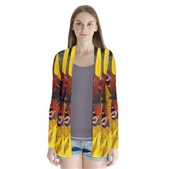Yellow Butterfly Insect Closeup Drape Collar Cardigan