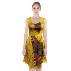 Yellow Butterfly Insect Closeup Racerback Midi Dress