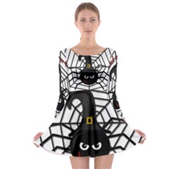 Halloween cute spider Long Sleeve Skater Dress