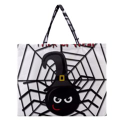 Halloween Cute Spider Zipper Large Tote Bag