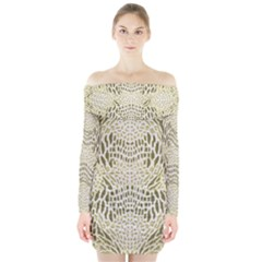 ALBINO REPTILE Long Sleeve Off Shoulder Dress