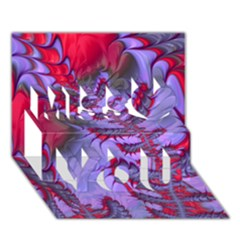 Freaky Friday Red  Lilac Miss You 3d Greeting Card (7x5)
