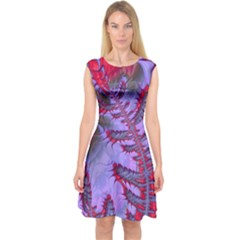 Freaky Friday Red  Lilac Capsleeve Midi Dress