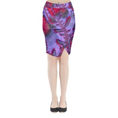 Freaky Friday Red  Lilac Midi Wrap Pencil Skirt