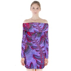 Freaky Friday Red  Lilac Long Sleeve Off Shoulder Dress
