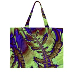 Freaky Friday, Blue Green Zipper Large Tote Bag