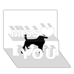 Beagle Silhouette Black Miss You 3D Greeting Card (7x5)