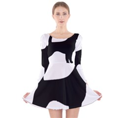 Beagle Silhouette Black Long Sleeve Velvet Skater Dress
