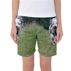 Bearded Collie In Motion Women s Basketball Shorts