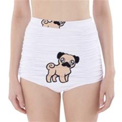 Fawn Pug Cartoon High-Waisted Bikini Bottoms
