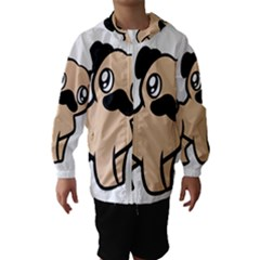 Fawn Pug Cartoon Hooded Wind Breaker (Kids)