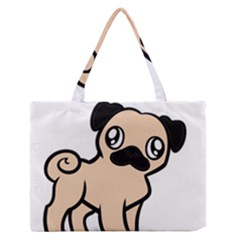Fawn Pug Cartoon Medium Zipper Tote Bag