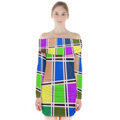 Abstract Long Sleeve Off Shoulder Dress
