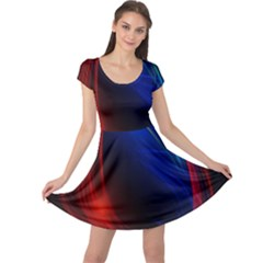 Abstract Line Wave Design Pattern Cap Sleeve Dresses