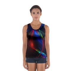 Abstract Line Wave Design Pattern Women s Sport Tank Top