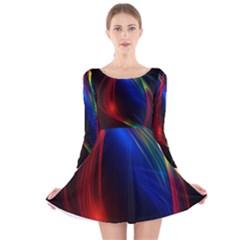 Abstract Line Wave Design Pattern Long Sleeve Velvet Skater Dress