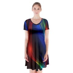 Abstract Line Wave Design Pattern Short Sleeve V-neck Flare Dress