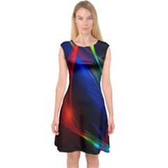 Abstract Line Wave Design Pattern Capsleeve Midi Dress