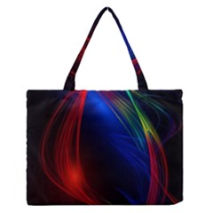 Abstract Line Wave Design Pattern Medium Zipper Tote Bag