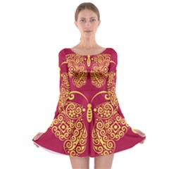 Butterfly Insect Bug Decoration Long Sleeve Skater Dress