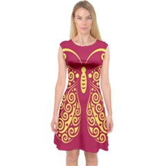 Butterfly Insect Bug Decoration Capsleeve Midi Dress
