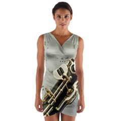 Clarinet Musical Instrument Woodwind Wrap Front Bodycon Dress