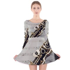 Clarinet Musical Instrument Woodwind Long Sleeve Velvet Skater Dress