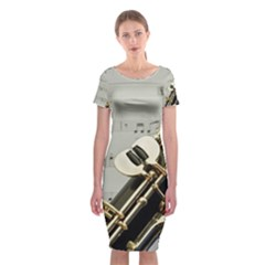 Clarinet Musical Instrument Woodwind Classic Short Sleeve Midi Dress