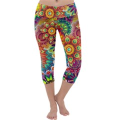 Colorful Abstract Background Capri Yoga Leggings