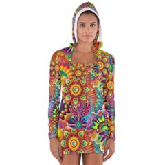 Colorful Abstract Background Women s Long Sleeve Hooded T-shirt