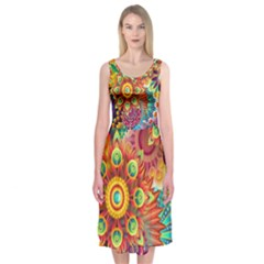 Colorful Abstract Background Midi Sleeveless Dress