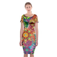 Colorful Abstract Background Classic Short Sleeve Midi Dress