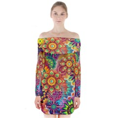 Colorful Abstract Background Long Sleeve Off Shoulder Dress