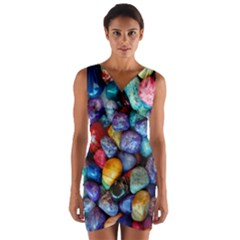 Colorful Rocks Stones Background Wrap Front Bodycon Dress