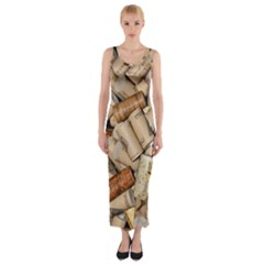 Corks Array Background Shape Wine Fitted Maxi Dress