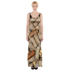 Corks Array Background Shape Wine Maxi Thigh Split Dress