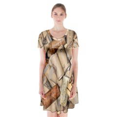 Corks Array Background Shape Wine Short Sleeve V-neck Flare Dress