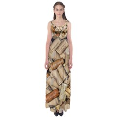 Corks Array Background Shape Wine Empire Waist Maxi Dress