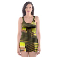 Cubic Blocks Abstract Cube Skater Dress Swimsuit