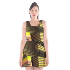 Cubic Blocks Abstract Cube Scoop Neck Skater Dress