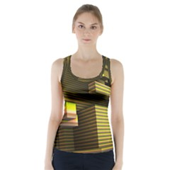 Cubic Blocks Abstract Cube Racer Back Sports Top